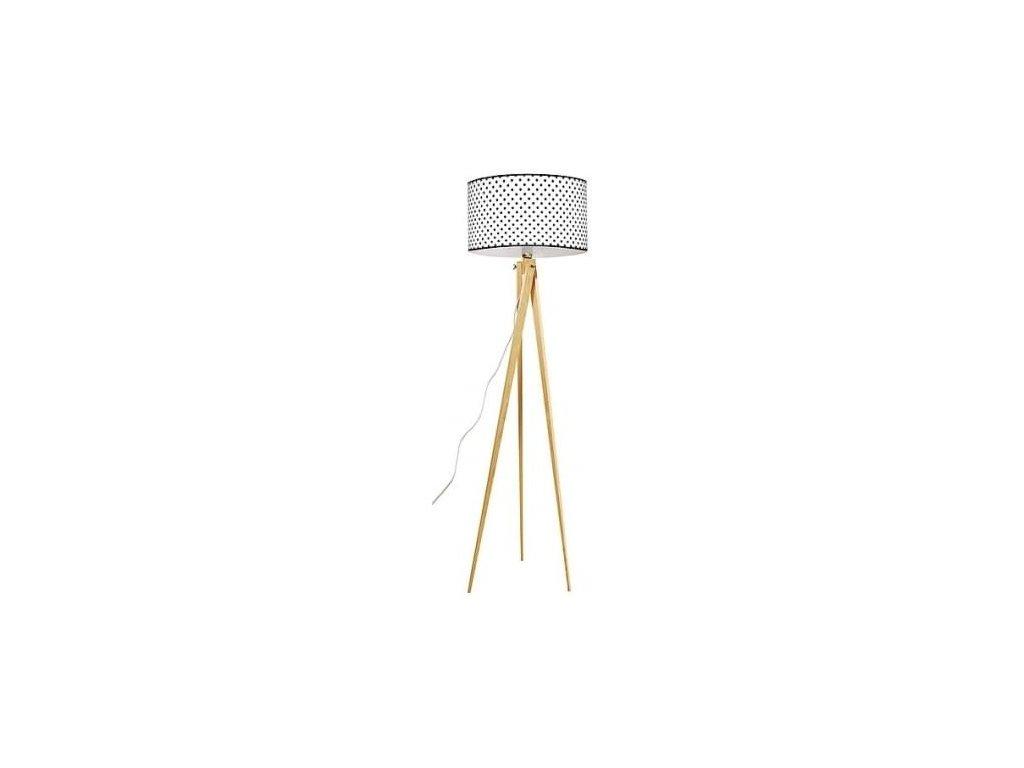 Stojací lampa LF 14, přírodní podnož, bílá/černá