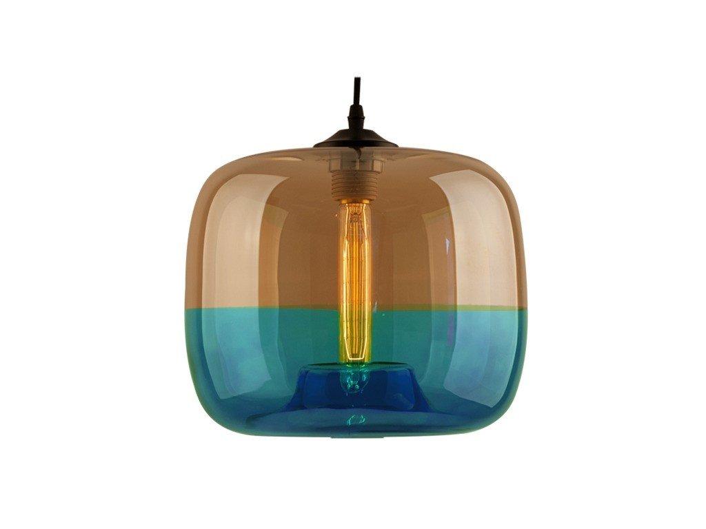 Transparentní modré závěsné světlo Monaco 24 cm