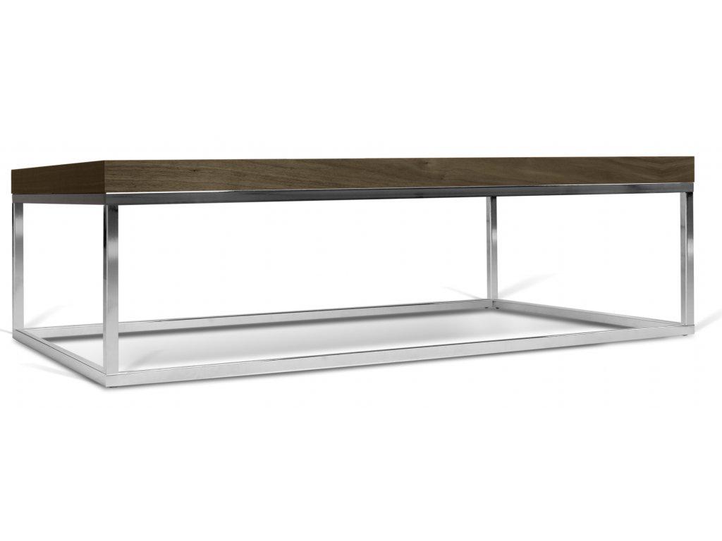 Ořechový konferenční stolek Xanti II 120 x 75 cm s chromovou podnoží