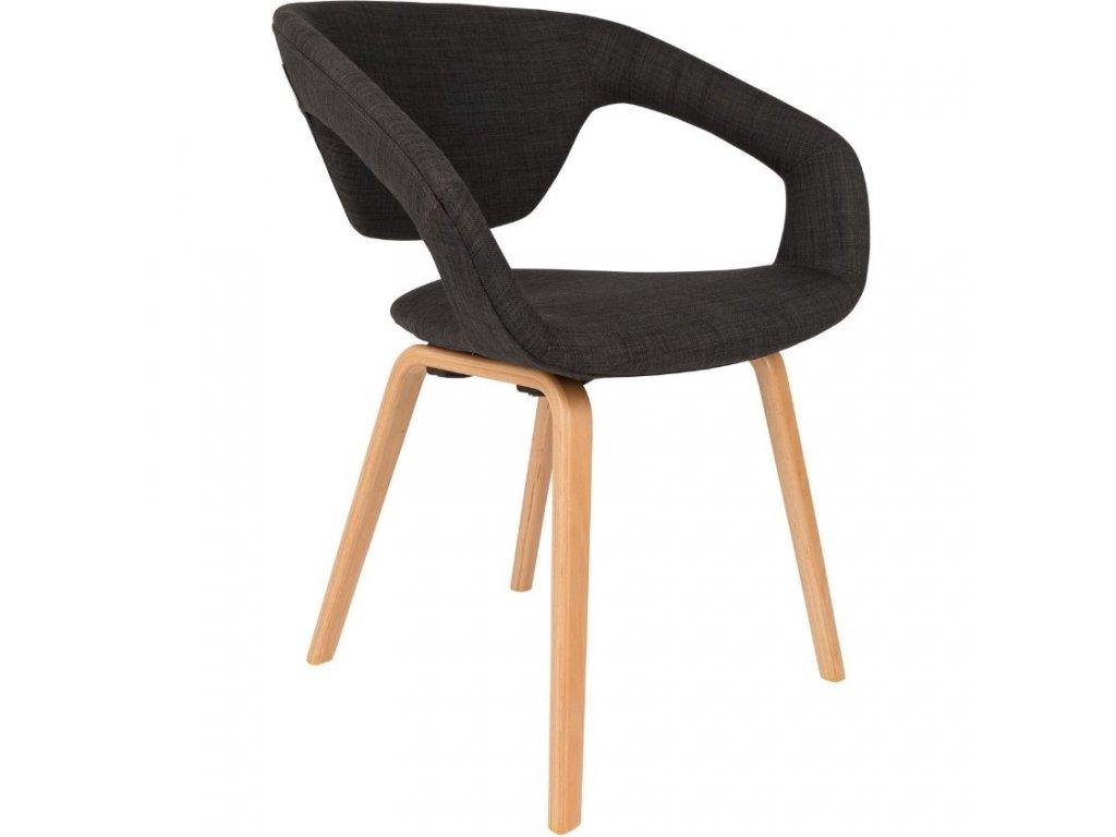 Tmavě šedá látková jídelní židle ZUIVER FLEXBACK s přírodní podnoží