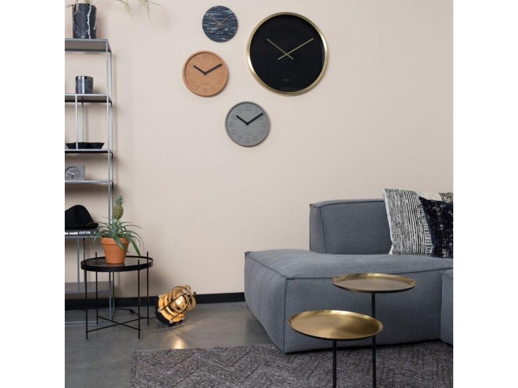 Šedé betonové nástěnné hodiny ZUIVER CONCRETE TIME 3D čísla oranžové hliníkové ručičky