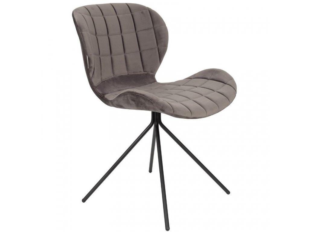 Sametová šedá jídelní židle Zuiver OMG černá lakovaná podnož