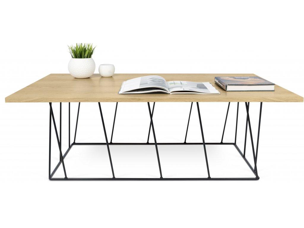 Konferenční stolek Rofus, černá podnož, dub