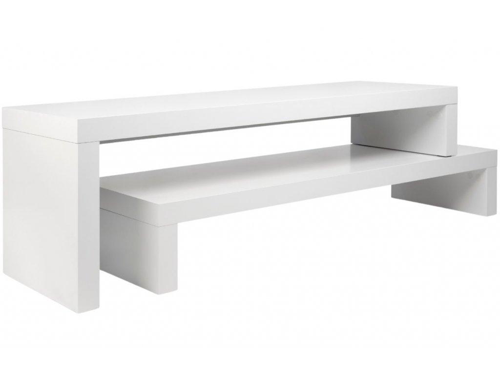 Matně bílý dřevěný TV stolek Falesia 235 x 38 cm