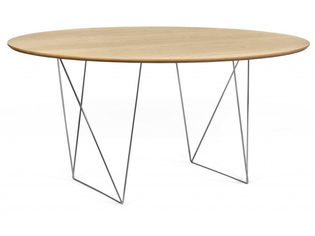 Kulatý dubový jídelní stůl Matos 150 cm s chromovanou podnoží