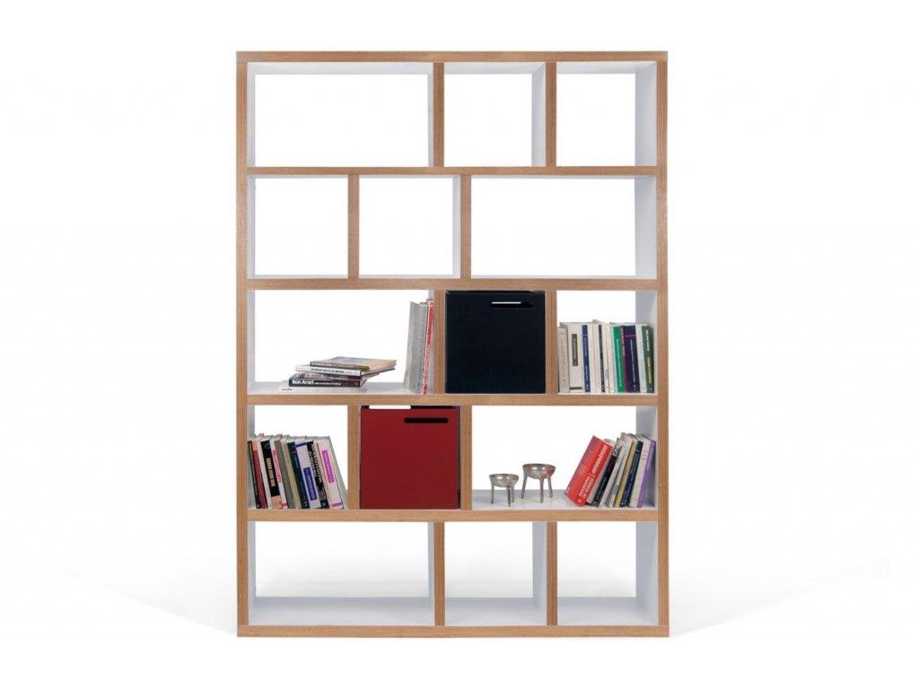Designová knihovna Castelo 5 150 cm, překližka, matná bílá