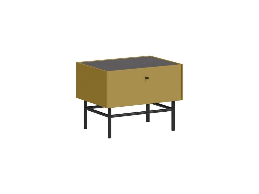 Noční stolek Germania MONTEO, antracit, olivově žlutá