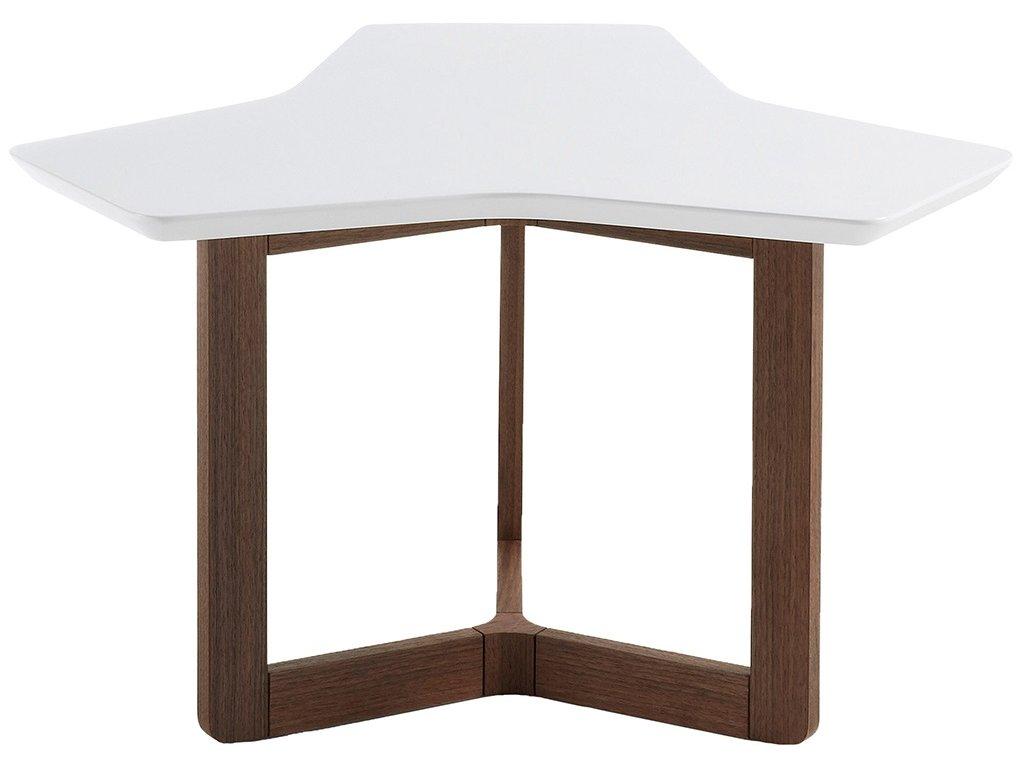 Bílý konferenční stolek LaForma Triangle 76 cm s ořechovou podnoží