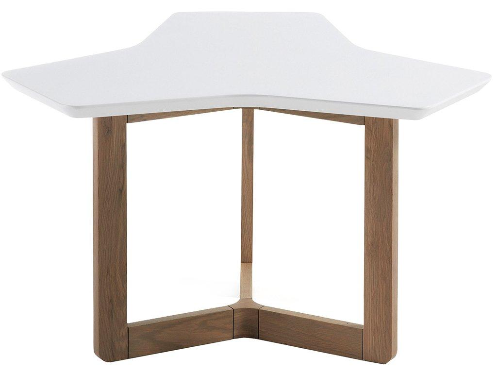 Bílý konferenční stolek LaForma Triangle 76 cm s dubovou podnoží
