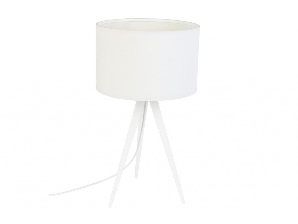 Bílá stolní lampa ZUIVER TRIPOD kovové nohy textilní stínidlo