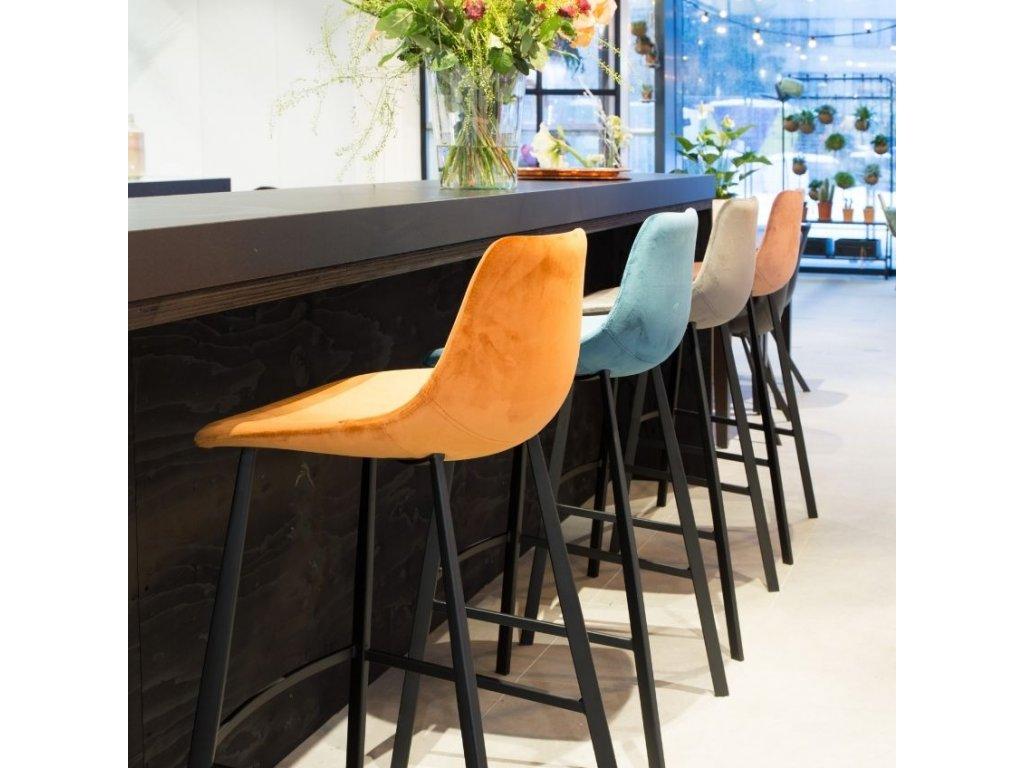 Starorůžová sametová barová židle DUTCHBONE FRANKY 80 cm
