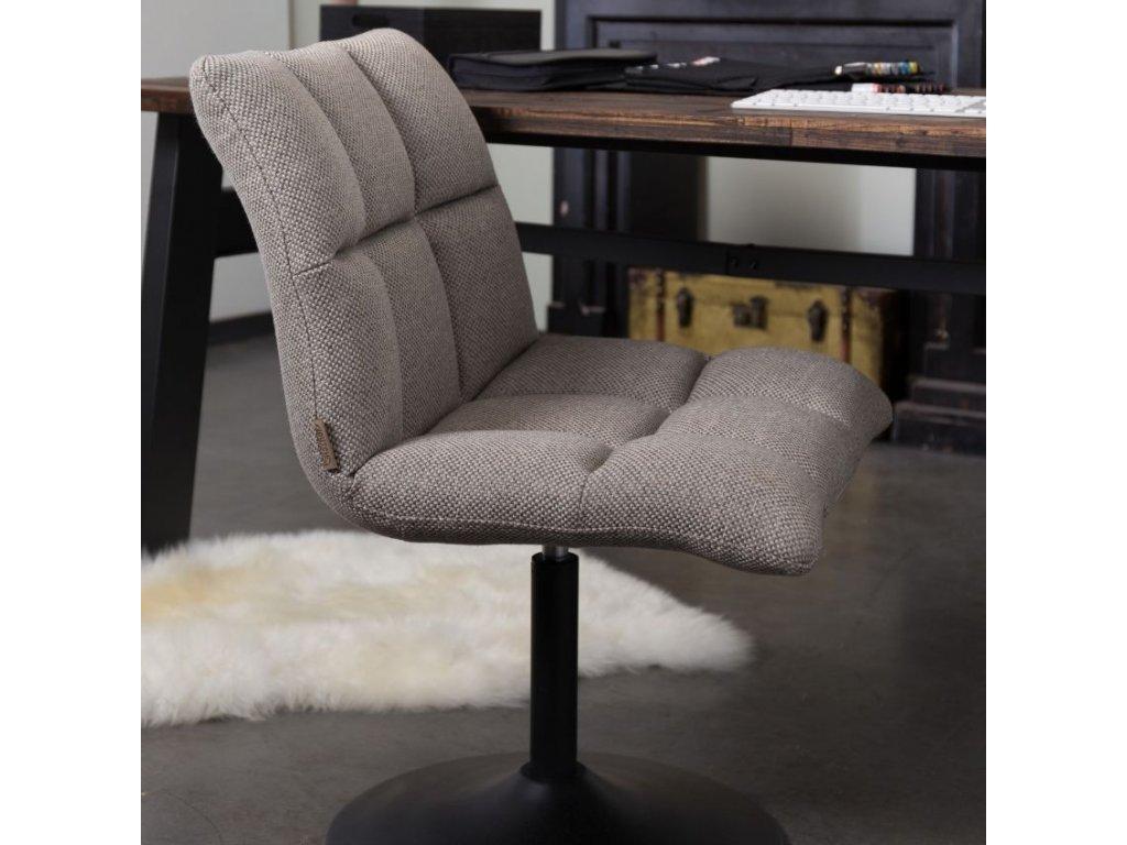 Šedá látková židle DUTCHBONE MINI BAR, prošívaný sedák, černě lakovaná otočná podnož