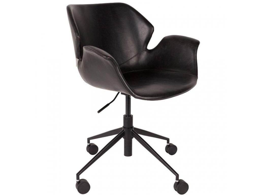 Kancelářská židle ZUIVER NIKKI černá ekokůže černá ocelová podnož