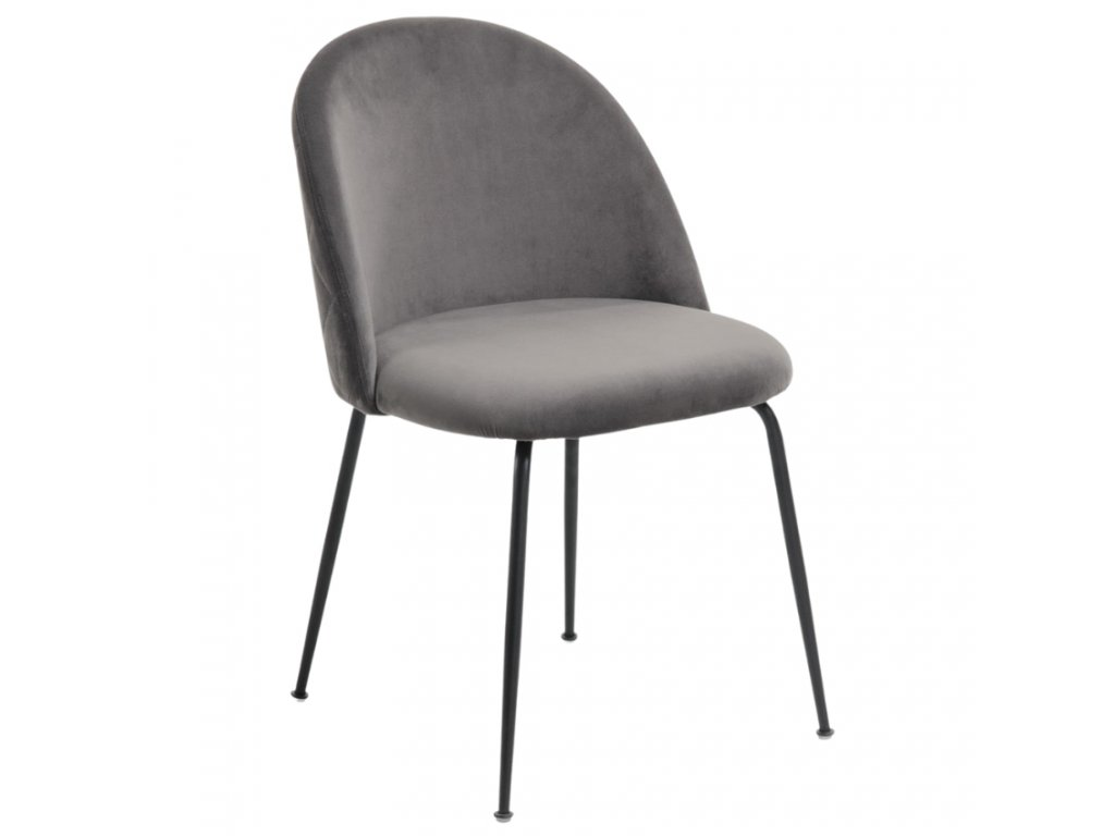 Šedá sametová jídelní židle LaForma Mystere s černou podnoží