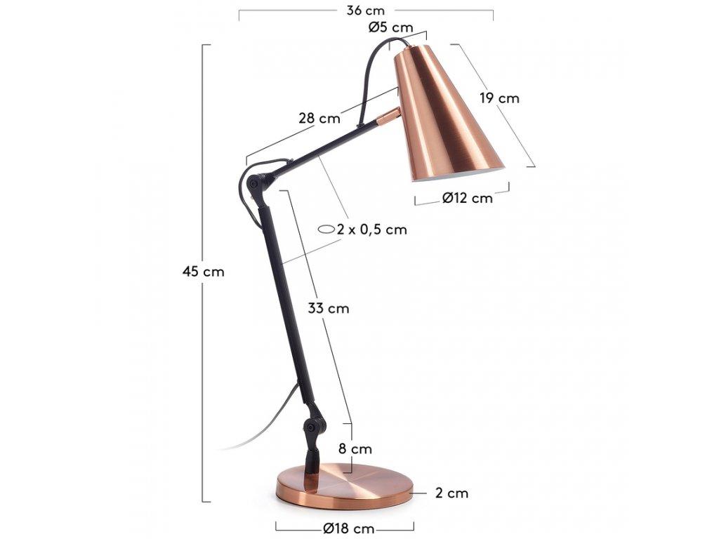 Měděná stolní lampa LaForma Paola