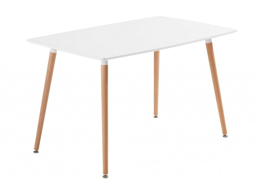 Bílý jídelní stůl LaForma DAW 140x80 cm s bukovou podnoží