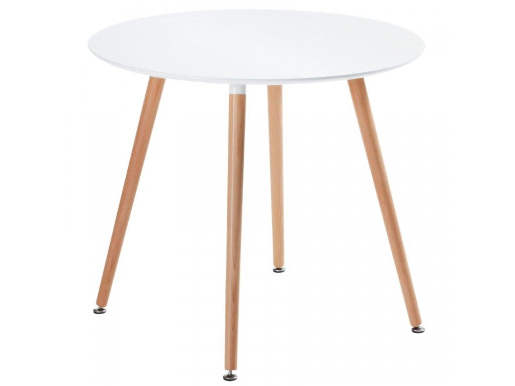 Bílý kulatý jídelní stůl LaForma DAW s bukovou podnoží