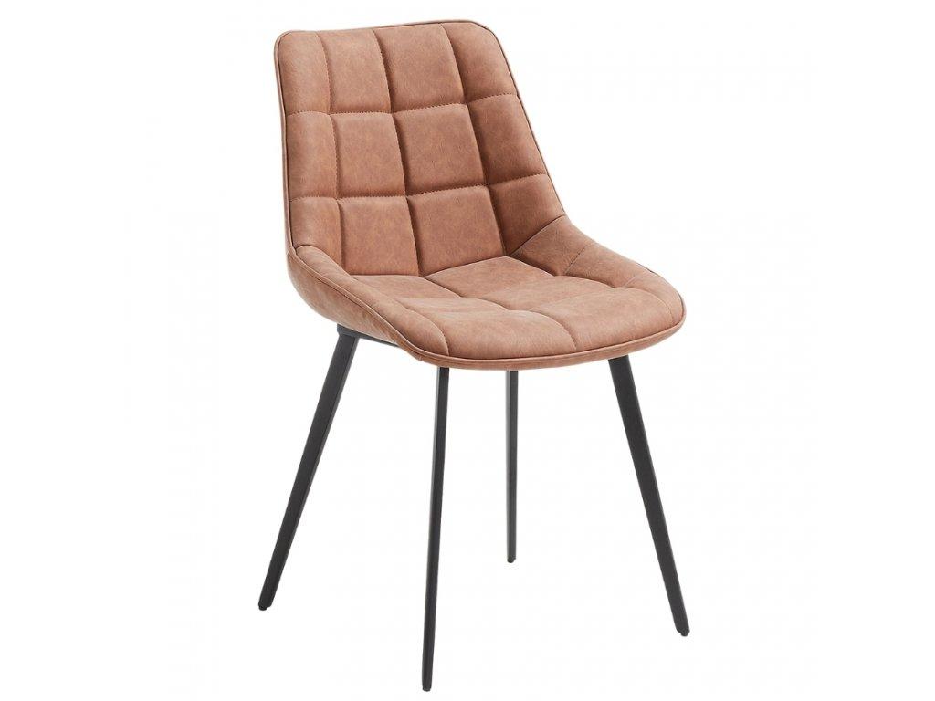 Světle hnědá koženková jídelní židle LaForma ADAH
