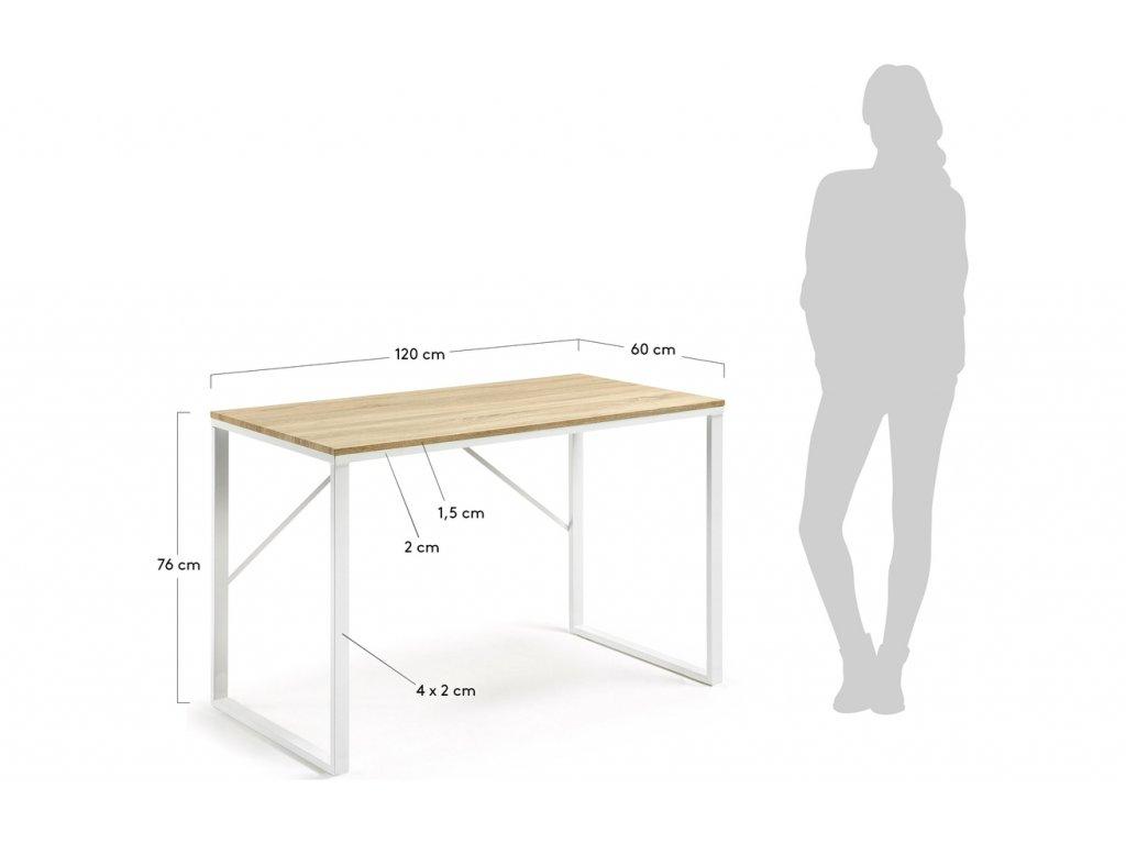 Přírodní pracovní stůl LaForma Lisbet 120x60 cm