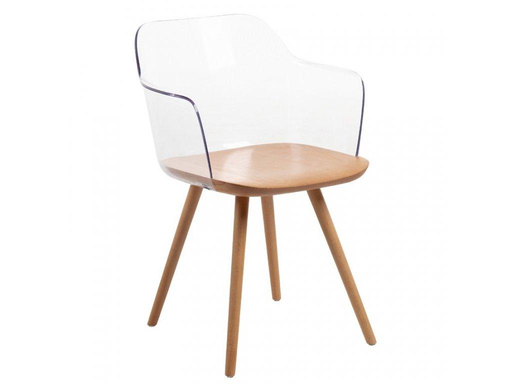 Transparentní plastová židle s bukovou podnoží LaForma Klam
