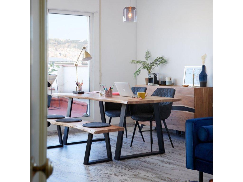 Masivní akátový jídelní stůl LaForma Sono 200x95 cm s kovovou podnoží