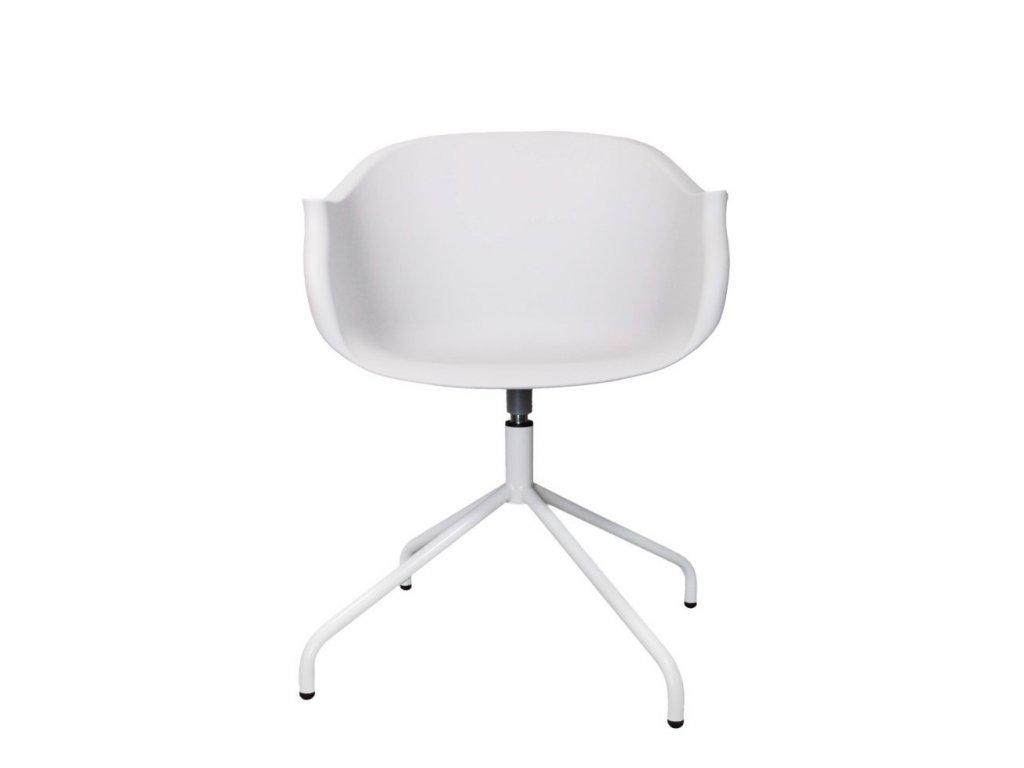 Bílá plastová židle Duke