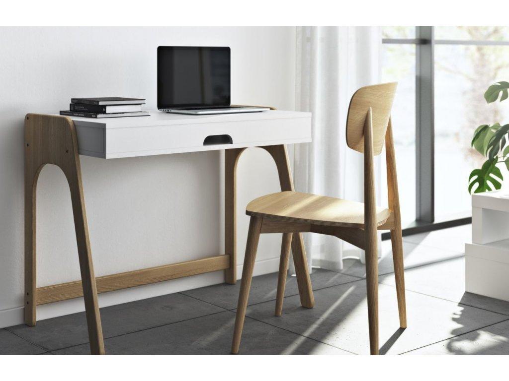 Bílý dubový pracovní stůl Balcao 94 x 53 cm