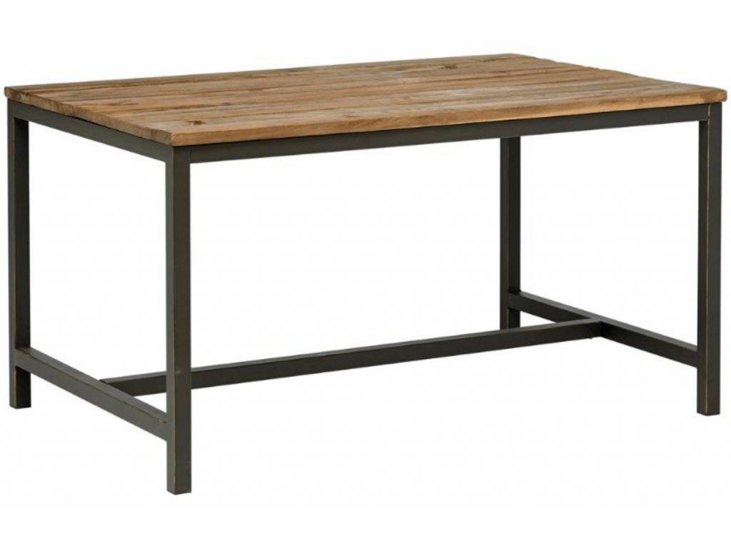 Masivní jílmový jídelní stůl Kalma s kovovou podnoží 140x90 cm