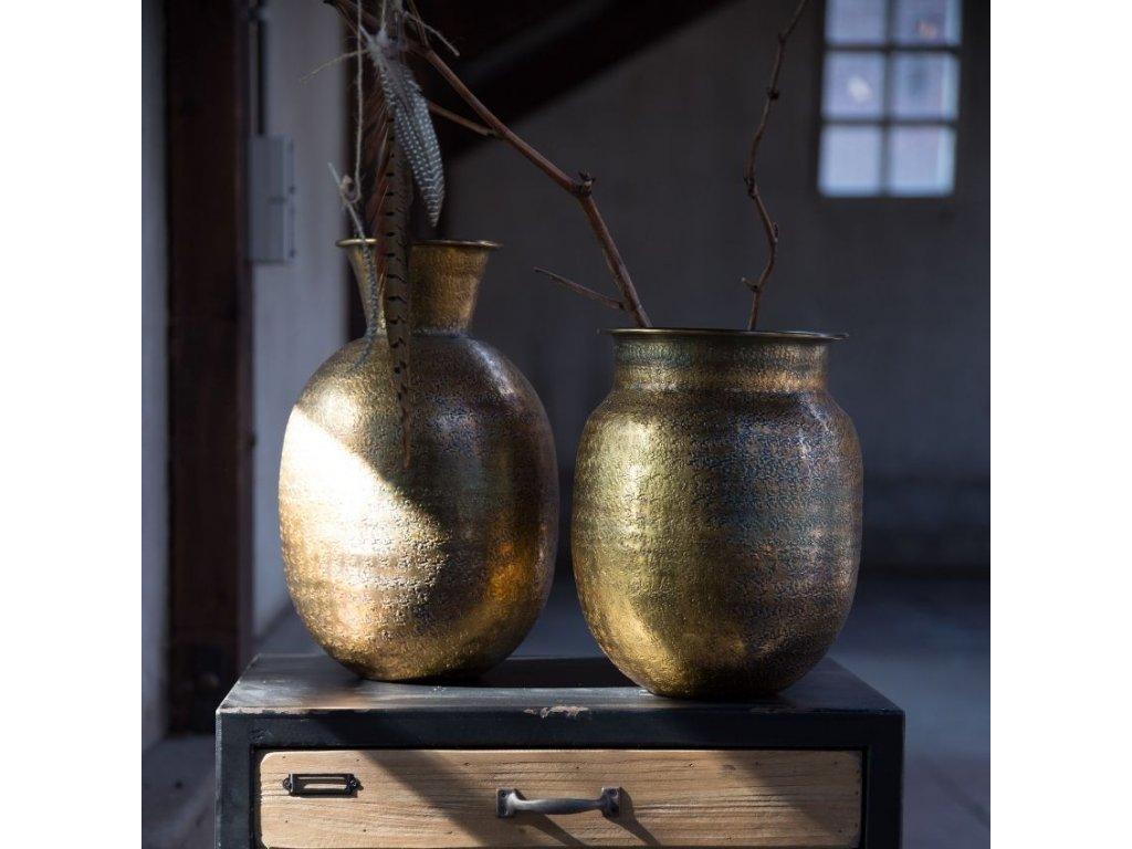 Zlatá váza DUTCHBONE BAHIR, lakovaný hliník, jemný vzor, vintage