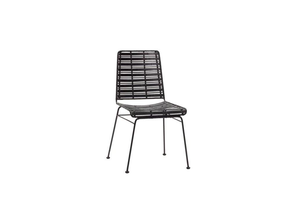 Černá ratanová židle Hübsch Venla
