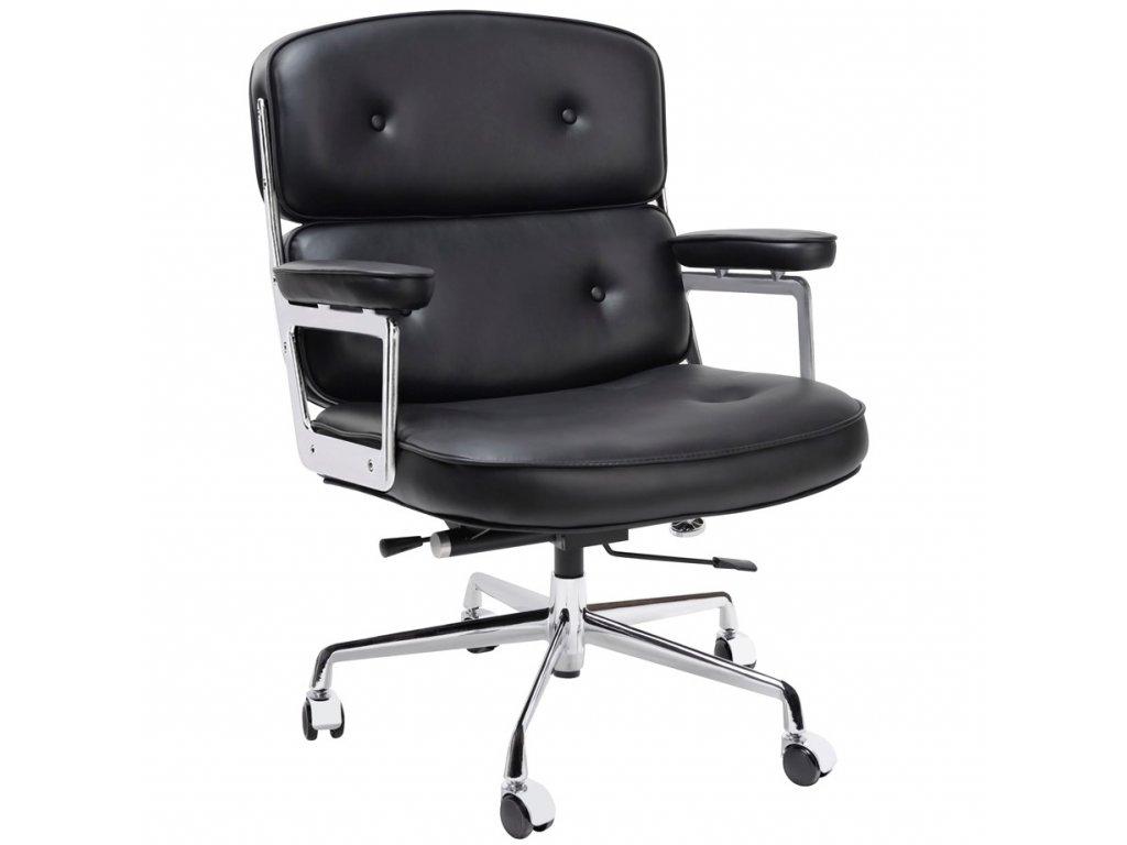 Černé kožené kancelářské křeslo Ebony