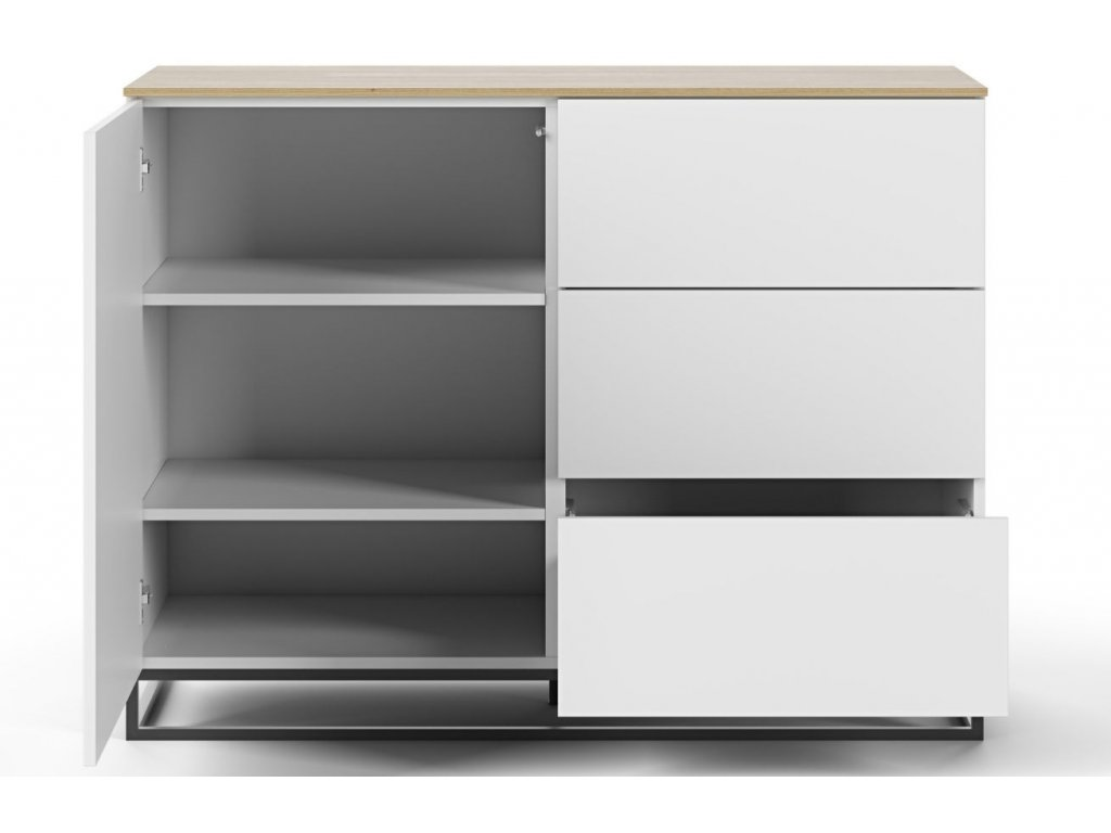 Bílá dřevěná komoda Lettia II 120 x 50 cm s dubovou deskou