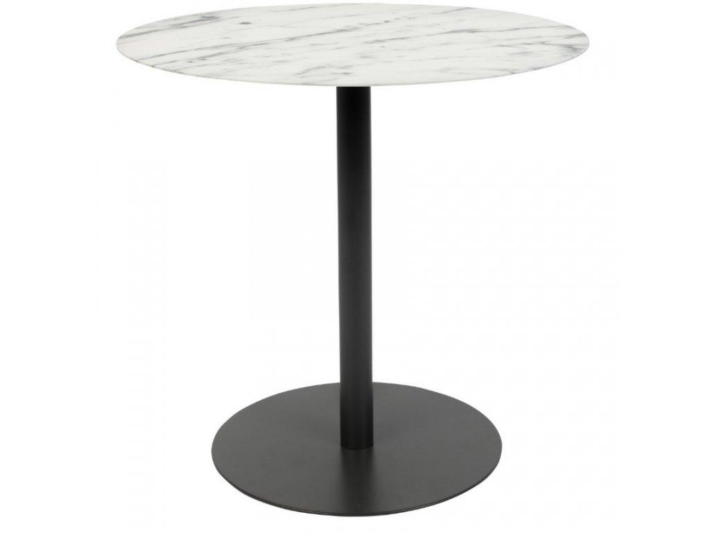 Odkládací stolek ZUIVER SNOW kovová deska dekor mramor bílý