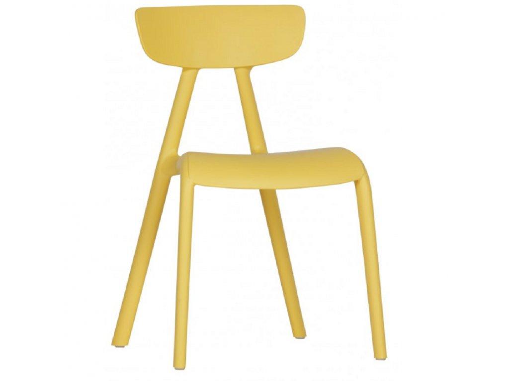 Žlutá plastová židle Winfrey
