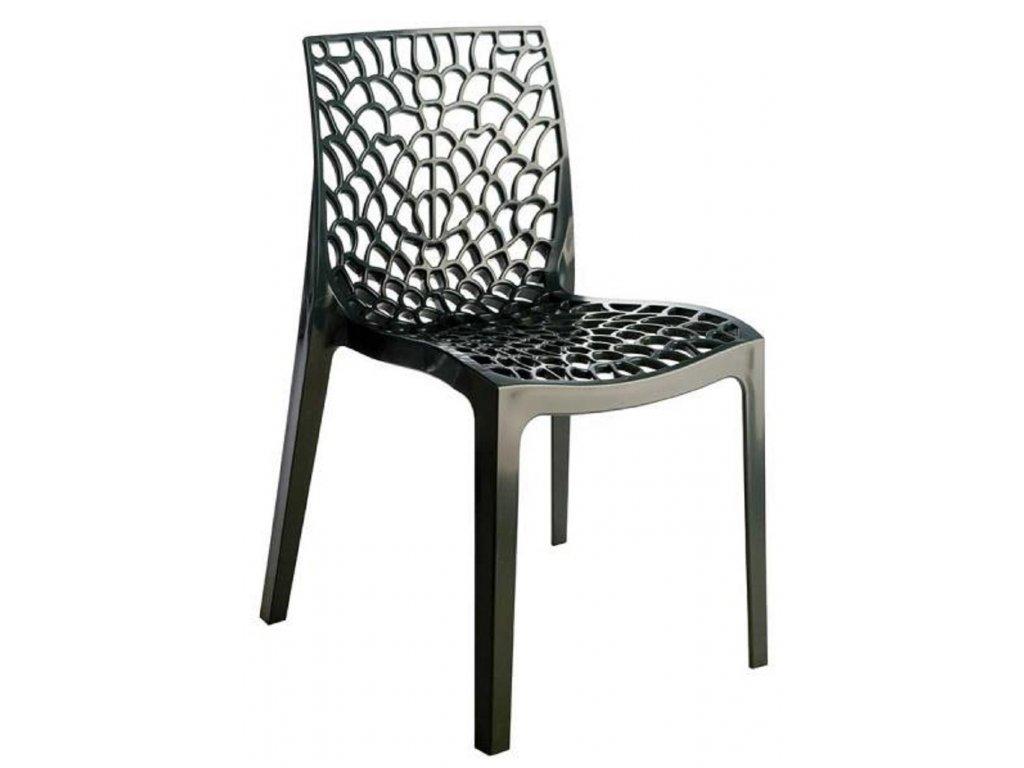 Antracitová plastová jídelní židle Coral-C