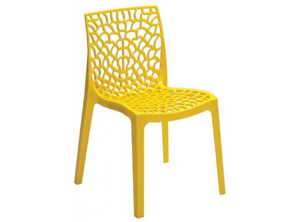 Žlutá plastová jídelní židle Coral-C