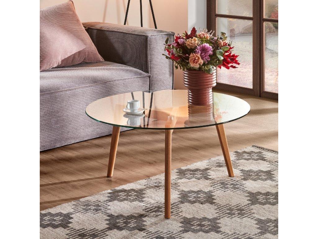 Skleněný kulatý konferenční stolek LaForma Brick 90 cm