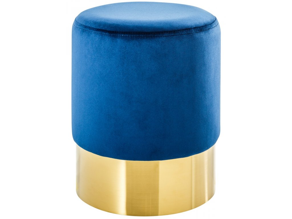 Modrý sametový taburet Bono
