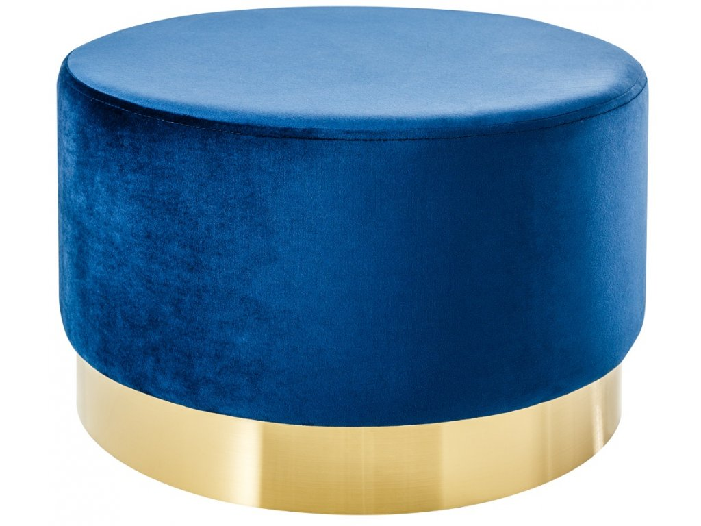 Modrý sametový taburet Bono 55 cm