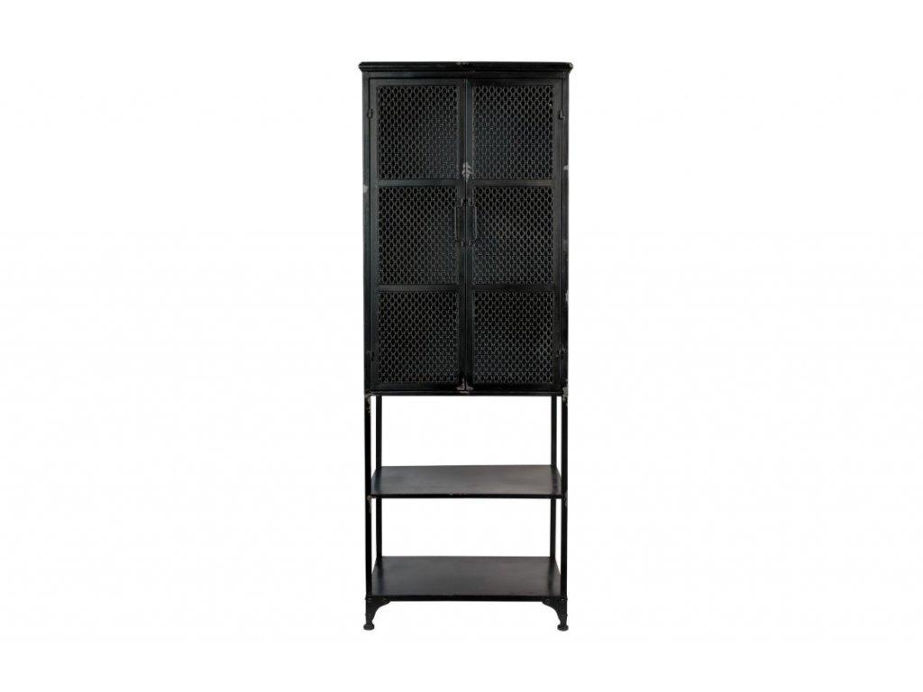 Černá vitrína DUTCHBONE DENVER, kovové spracování, elegantní