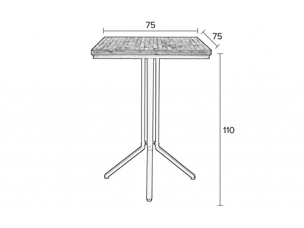 Černý barový stůl WLL MAZE SQUARE 110 cm dřevěný
