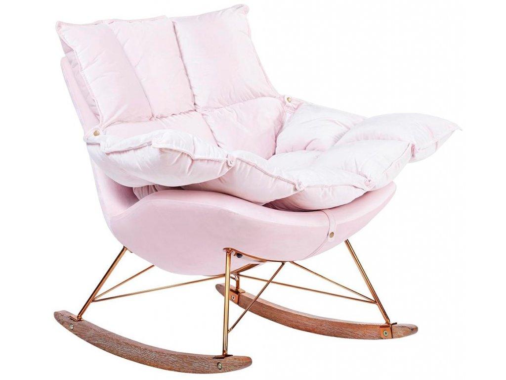 Moderní světle růžové sametové houpací křeslo Wingo