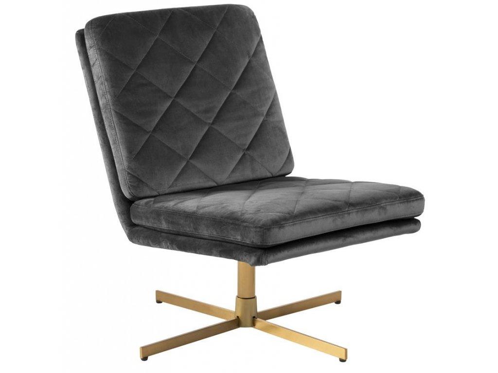 Šedá sametová židle Major