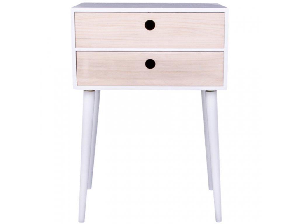 Bílý dřevěný přírodní noční stolek Feda se zásuvkami