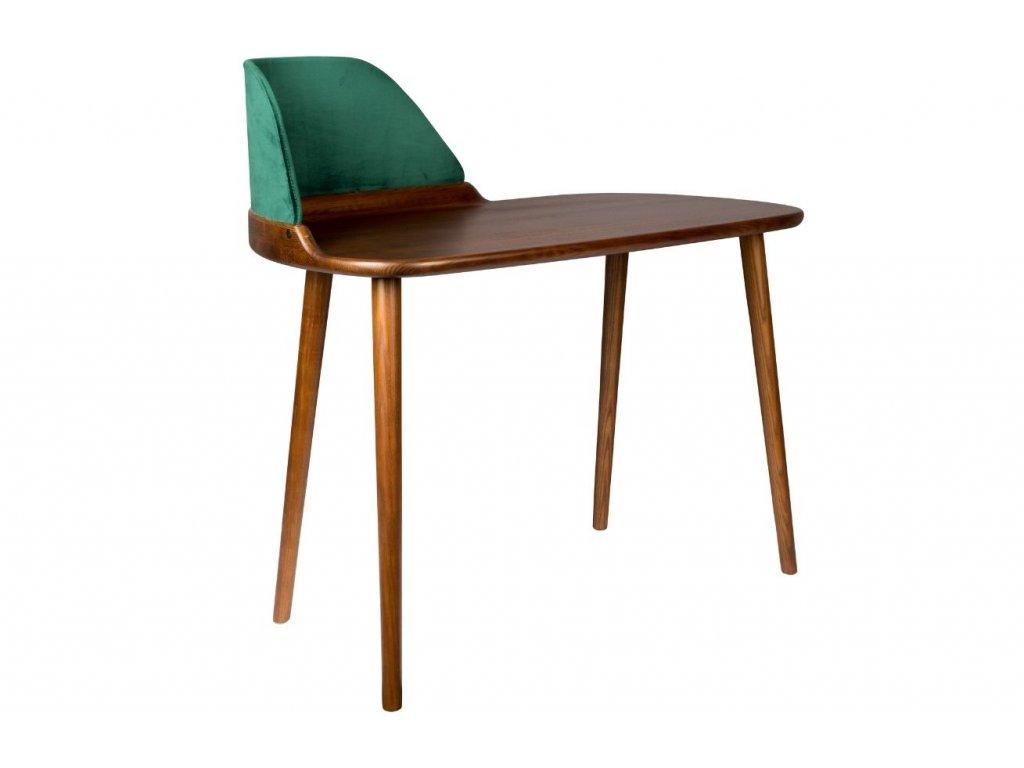 Hnědý pracovní stůl DUTCHBONE FINN, jasanové dřevo, sametový panel