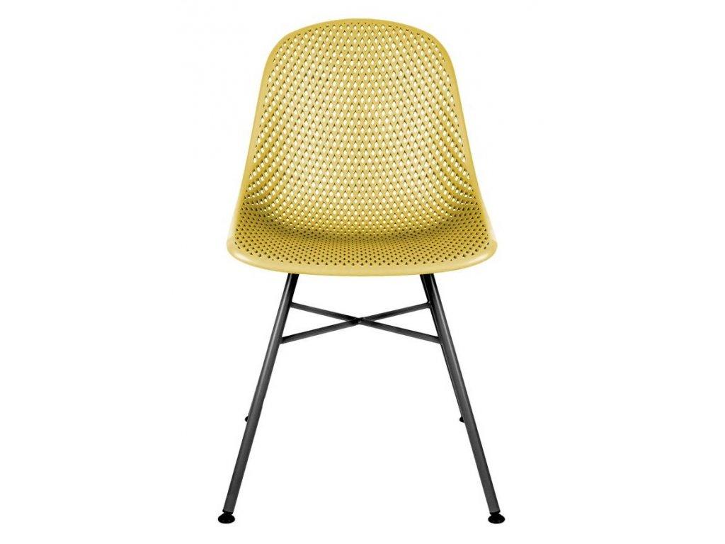 Žlutá plastová jídelní židle Dylan
