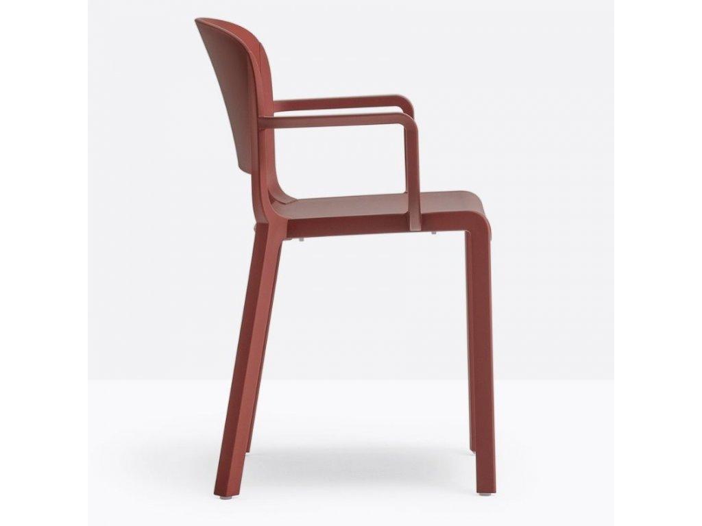 Červená plastová jídelní židle Dome 265 s područkami