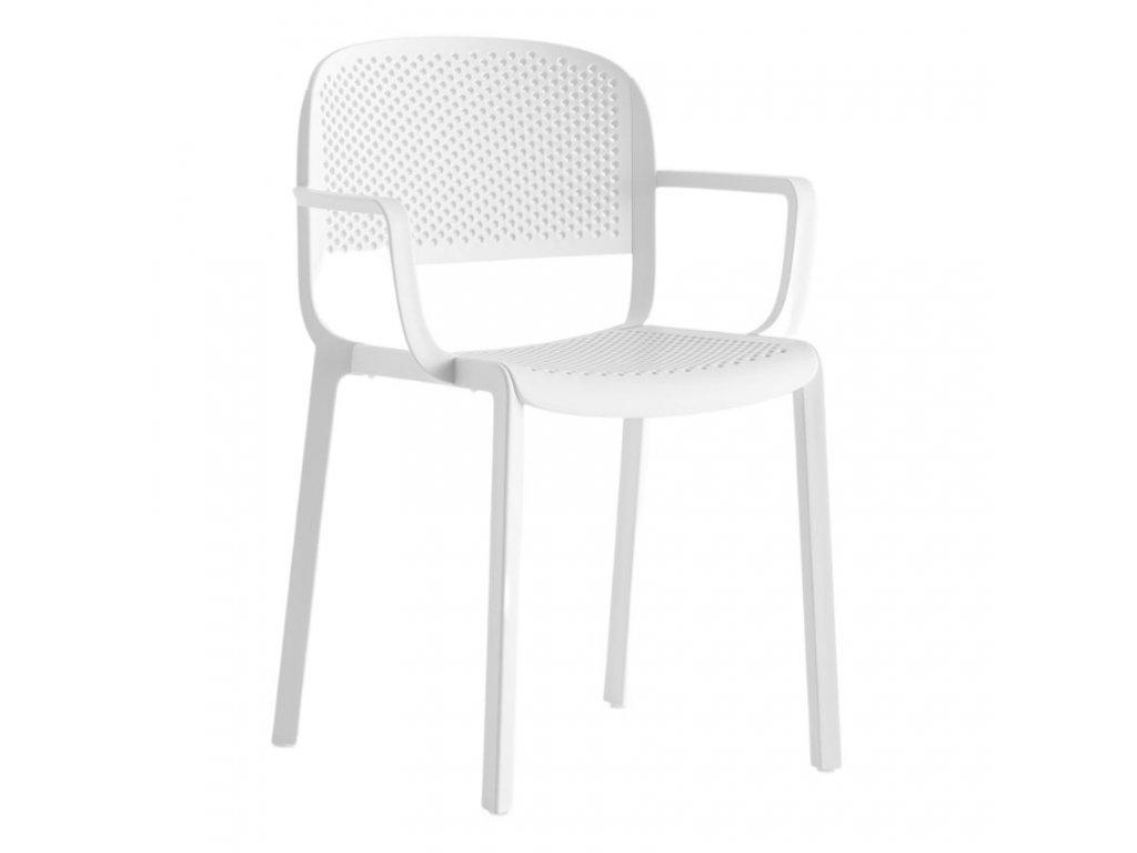 Bílá plastová jídelní židle Dome 266