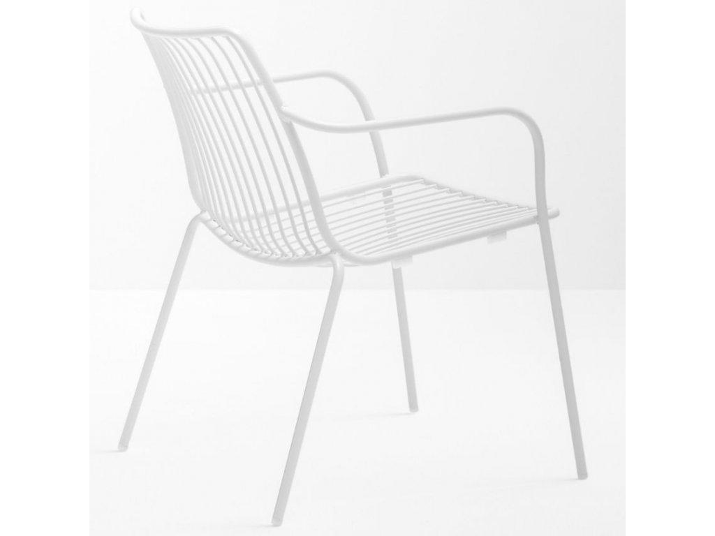 Bílá kovová židle Nolita 3659 s područkami