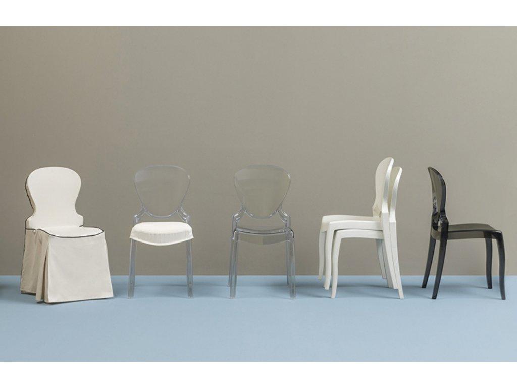 Krémová plastová židle Queen 650